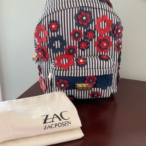 NWT Zac Posen Striped Floral Backpack with dustbag